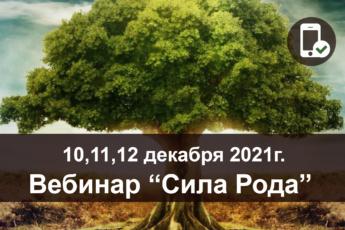 10, 11, 12 декабря 2021 г. Вебинар «Сила Рода»
